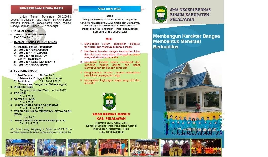 Brosur Penerimaan Siswa Baru SMAN Bernas Tahun Pelajaran 2012 2013